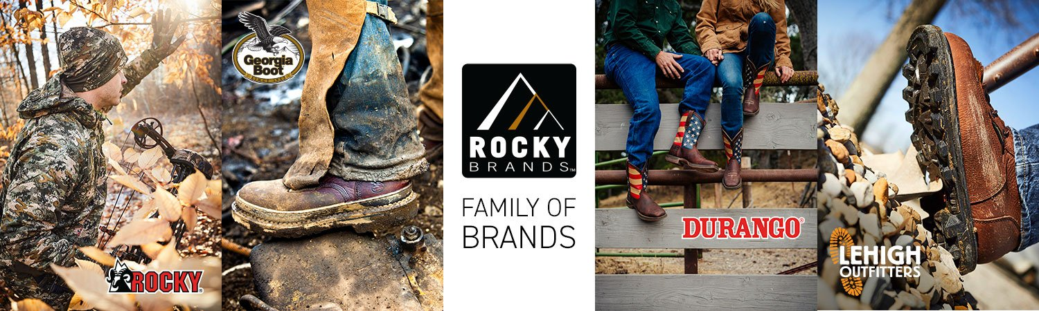 Rocky Brands Family: Rocky Boots, Georgia Boot, Durango Boots, and Lehigh Outfitters.